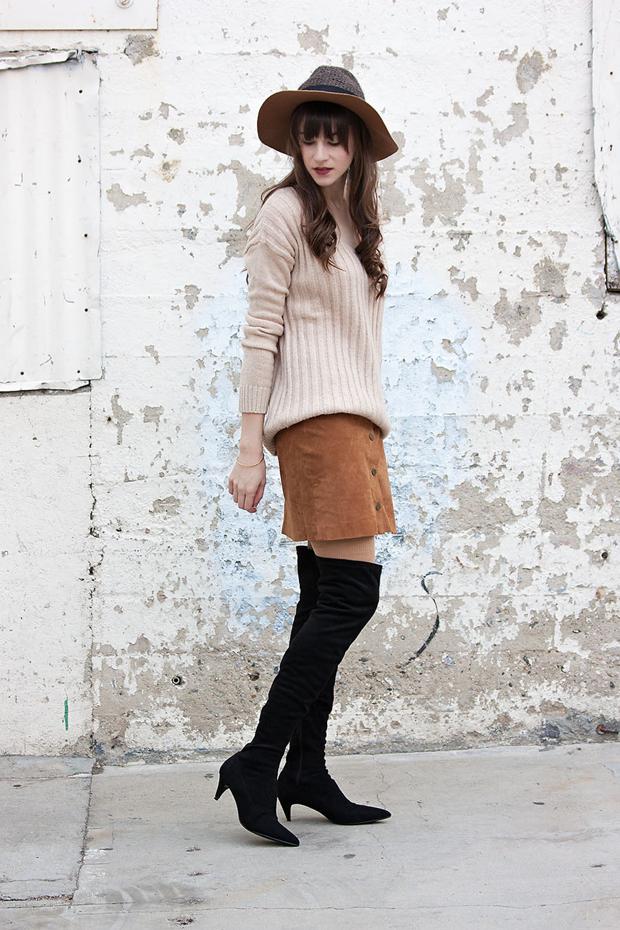 Suede Skirt, OTK boots, Tan Sweater, Floppy Winter Hat