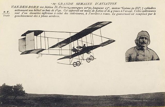 Le Pilote Belge Charles VAN DEN BORN sur BIPLAN FARMAN Vers 1900-1910
