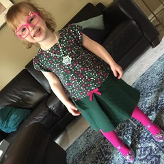 Addie is ready for church. One of my favorite things to do. The glasses were her own touch of style.