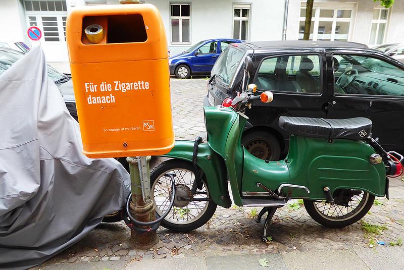 Straßenszene Berlin Wedding Schwalbe an einem Papierkorb befestigt