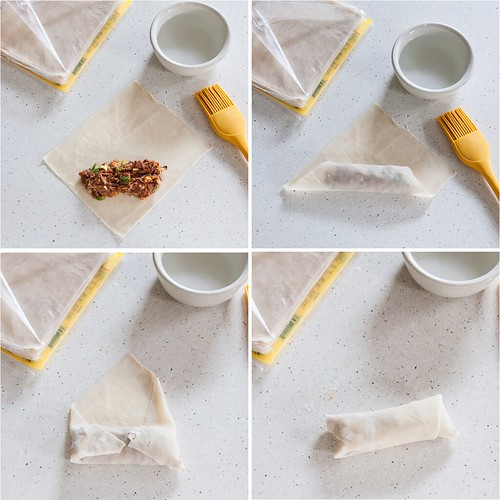 How to fold an egg roll