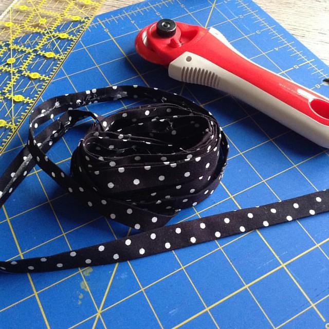 polka dot bias tape makes me happy #ilovepolkadots #sewing #scrap busting