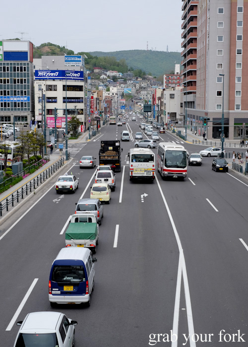 Traffic and buildings in Otaru, Hokkaido