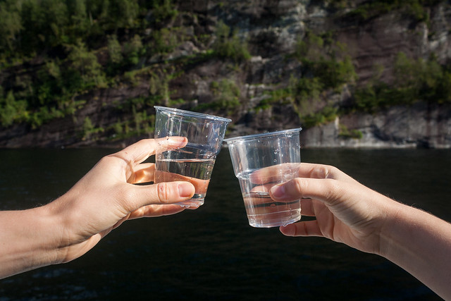 Water from the waterfall on the fjords cruise, Bergen