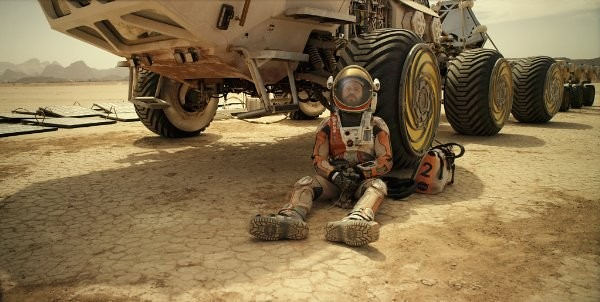 Matt Damon considers how fucked he is in THE MARTIAN.