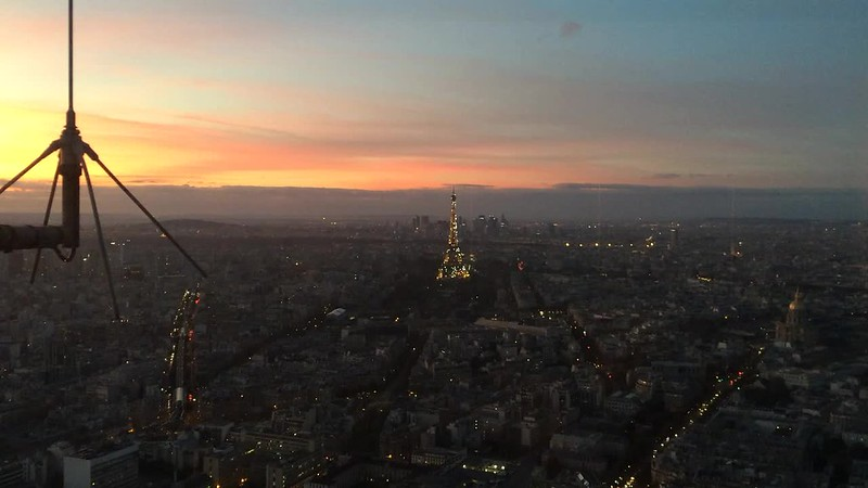Sparkling Eiffel Tower after dusk from Tour Montparnasse 56.