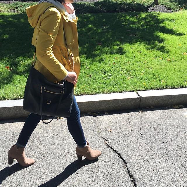 LOFT Mustard Anorak Outfit