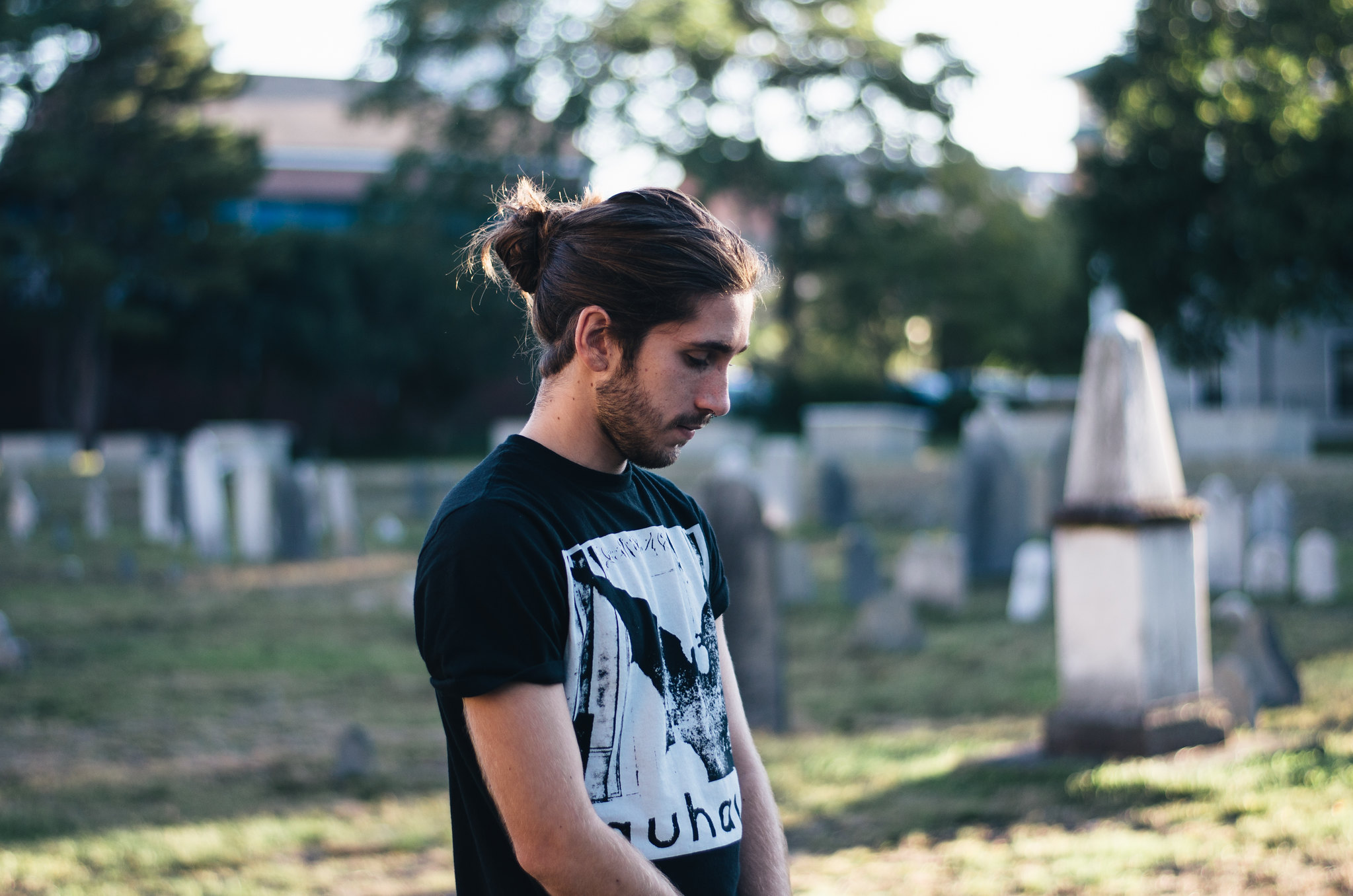 Man Bun in Graveyard on juliettelaura.blogspot.com
