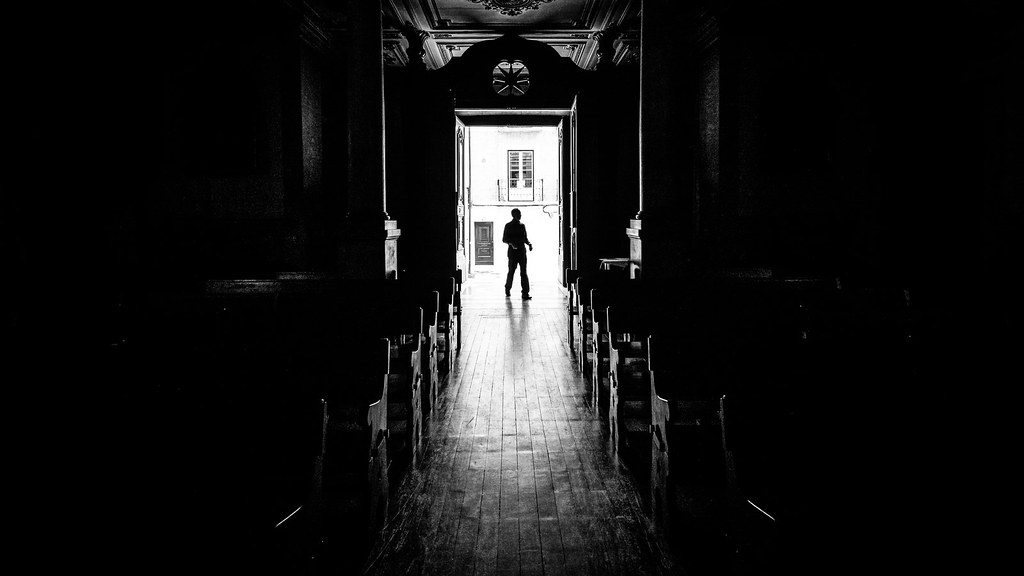 The priest - Lisbon, Portugal - Black and white street photography