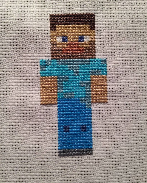 Steve from Minecraft. Makes a speedy present for any Minecraft lovers in your life. Free pattern coming soon. #minecraft #crossstitch #xstitchersofinstagram #xstitch