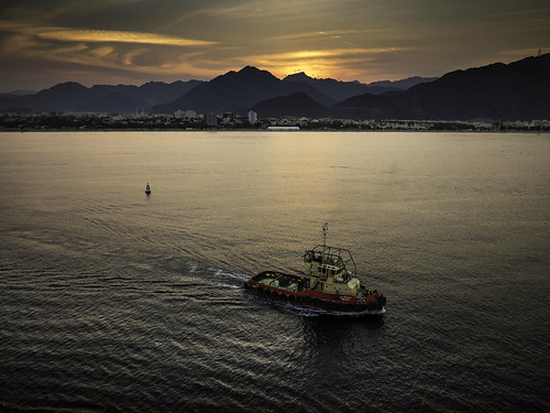sunset harbor harbour tug sharjah unitedarabemirates khorfakkan