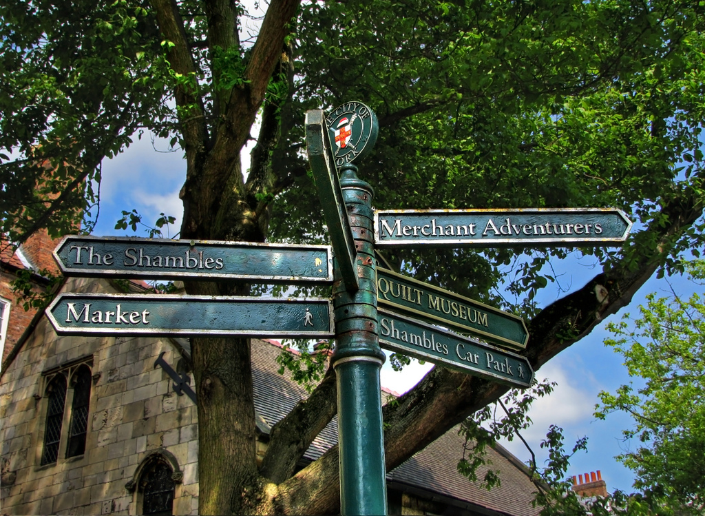 Signpost at the bottom of The Shambles. Credit Peter Whelerton