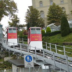 Drahtseilbahn Marzili–Stadt Bern, Switzerland - Cars 1 and 2 about to pass on this 105 metre (344 feet) line on the 16th September 2016