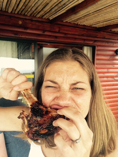 Lindsey devouring the ribs