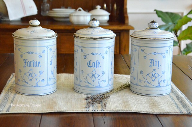 Antique French Enamelware Canisters - Housepitality Designs