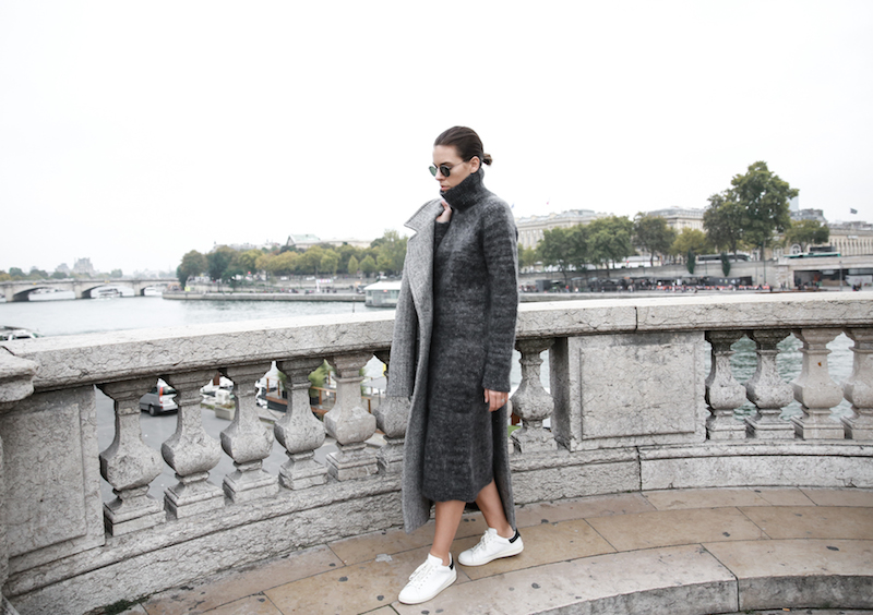 winter essentials, all grey, Paris, street style, knit midi dress, comfort dressing, Isabel Marant Bart sneakers, MODERN LEGACY x MATCHESFASHION.COM, Raey