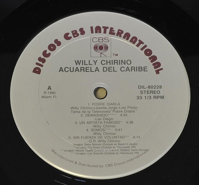 "WILLY CHIRINO ACUARELA DEL CARIBE 12"" LP VINYL"