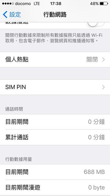 DOCOMO 4G 上網專用 SIM card,回國前使用的流量只有 688MB