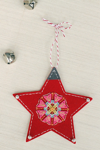 Beaded Holiday Star from Beaded Holiday Stitch Kit and the Stitched Medallion 3 by Papertrey Ink