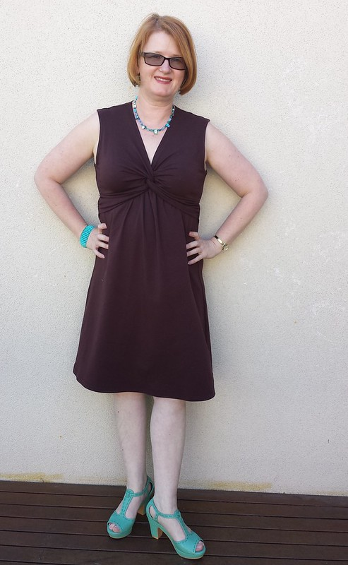 Simplicity 1733 dress and Bootstrap Fashions 59279 shrug in cotton lycra
