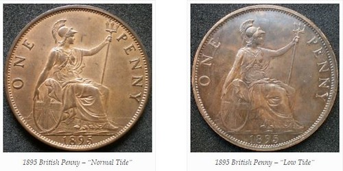 1895 British Pennies - High and Low Tide varieties