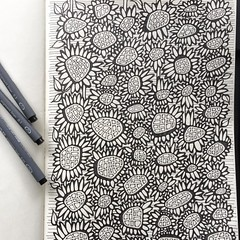 Drew this one at the beginning of the month ... a bit packed on the page but might be another good one for that colouring-book-to-be? @matamoon_colours? @staedtlermars pens in my @moleskine_arts journal.  #floralpattern #flowersdoodle #colouringbook #colo