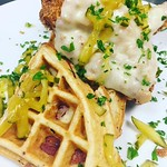 #Repost @ch57ad with @repostapp ・・・ Cheddar cheese fried chicken with pickles, and a whole grain mustard and ham waffle #rogueisland #brunch #chickenandwaffles #pickles