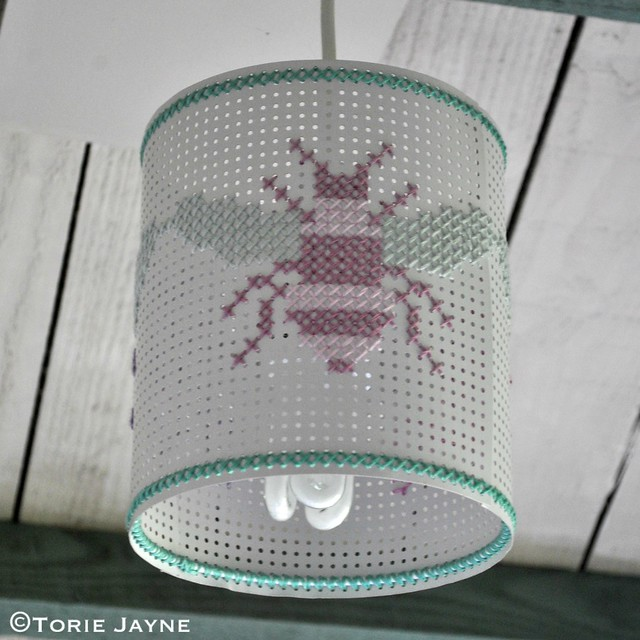 Honeybee cross stitch lampshade