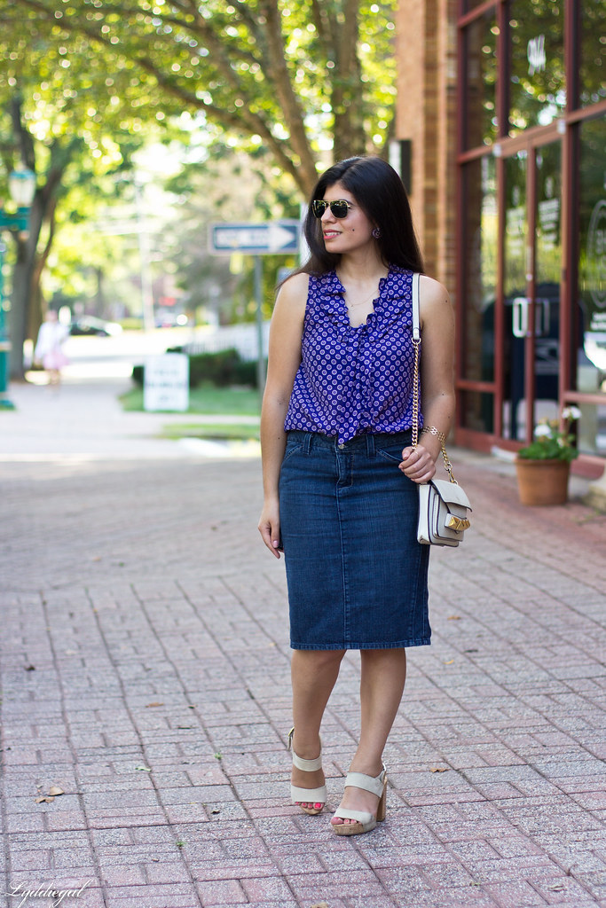 purple printed blouse, denim pencil skirt-2.jpg