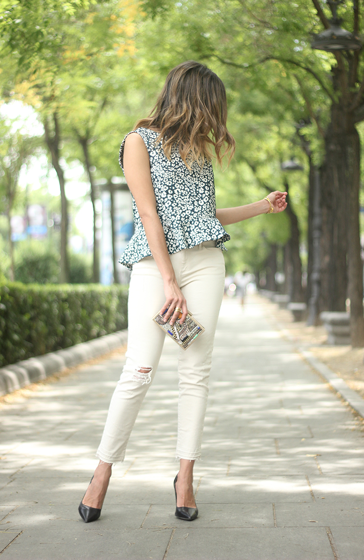 White Jeans Peplum Top Leopard Print Outfit black Heels 17
