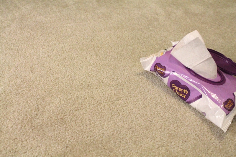 Baby Wipes on Carpet Stains - after