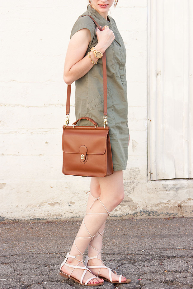 Coach Willis Bag, White Lace Up Sandals, Wood Watch, Army Green Dress