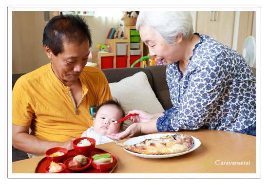 生後100日記念 お食い初め 料理 自宅 名古屋市守山区 着物 子供写真 家族写真 出張撮影 全データ 自然な おしゃれ ナチュラル