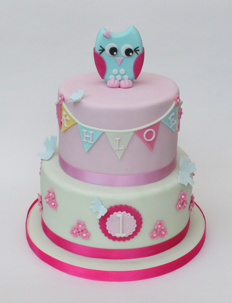 Superb Owl And Butterfly Cake A Girly First Birthday Cake With Ha Flickr Funny Birthday Cards Online Kookostrdamsfinfo