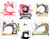 Sewing Machines Watercolor Clipart. 9 Hand painted images, black silhouettes, diy logo, invite, boho, stitching, needlework by octopusartis