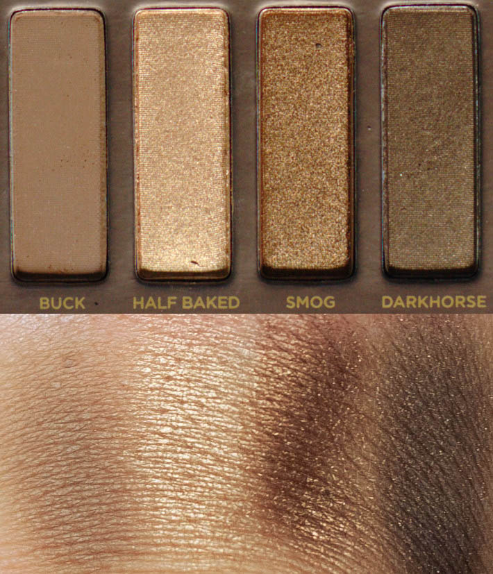 Naked original swatches: Buck, Half Baked, Smog and Darkhorse