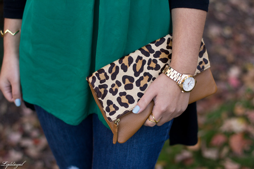 green silk blouse, black cardigan, leopard clutch-3.jpg