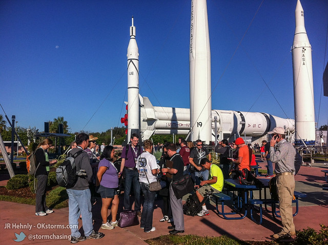 Fri, 11/02/2012 - 09:18 - Our group preparing for Day 2 at the Rocket Garden - November 02, 2012 9:18:39 AM - , (28.5233,-80.6829)