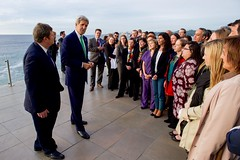 Secretary Kerry, joined by U.S. Ambassador to Chile Michael Hammer, addresses U.S. Embassy Santiago, Chile, staff members as he thanks them for thier work on Our Ocean Conference 2015 in Valparaíso, Chile, on October 5, 2015. [State Department photo/ Public Domain]