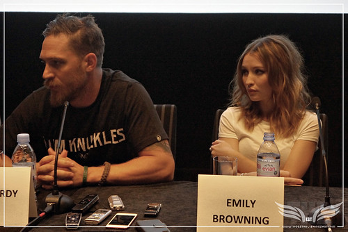 The Establishing Shot: LEGEND PRESS CONFERENCE - LEAD ACTORS TOM HARDY & EMILY BROWNING - SOHO HOTEL, LONDON