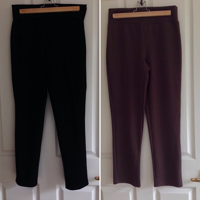 Colette Patterns' Clover trousers, in ponte, with maternity (yoga) waistbands.