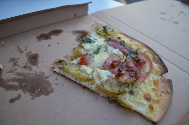 Copenhagen Costa D'Hellerup gourmet pizza with potatoes, pesto, pancetta and gluten-free crust