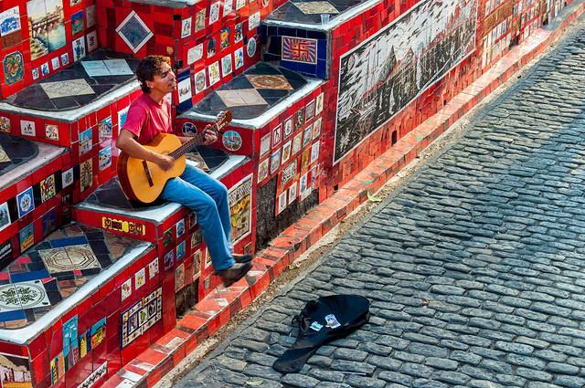 Street Musician at Escadaria Selarón, Lapa, Rio de Janeiro, Brazil