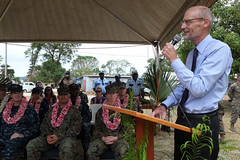 U.S. Ambassador to Vanuatu Walter E. North delivers remarks during the exercise Koa Moana 15-3 Vanuatu opening ceremony. (U.S. Navy/Grady Fontana)