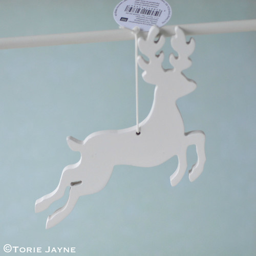 White wooden deer pendant