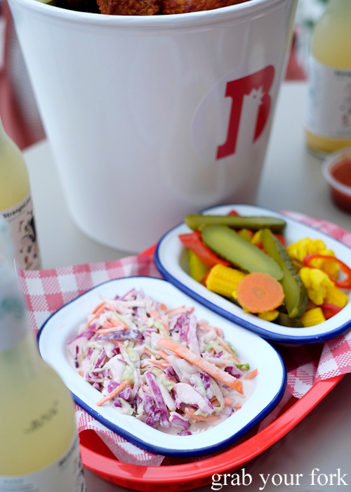 Coleslaw and mixed pickles at Belles Hot Chicken at Wulugul Pop Up, Barangaroo