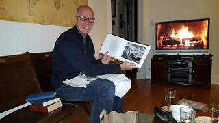 Fred got an Ansel Adams photography book -- and note the fabulous TV fireplace