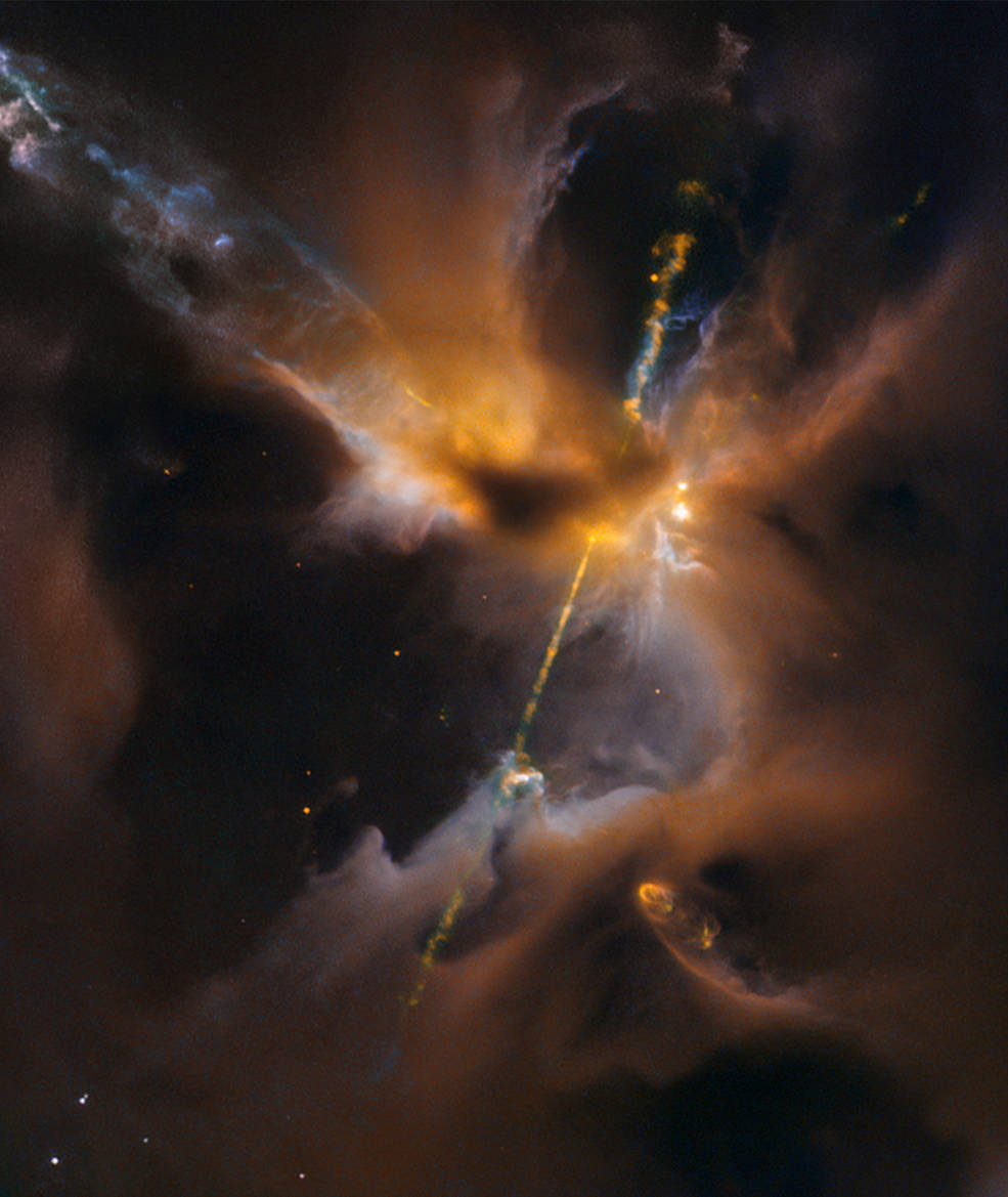 Hubble Sees the Force Awakening in a Newborn Star