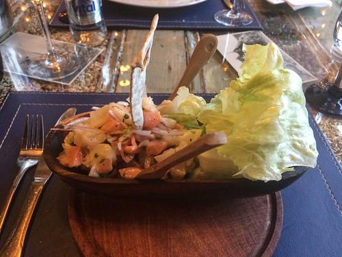Punta Arenas: succulente ceviche de poisson et crevettes très frais en entrée.